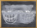 Black chalkboard, double grin by Gary Simmons