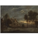 A river landscape at sunset with figures conversing before a house by Anthonie van Borssom
