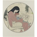 Mother and child reading by Will Barnet