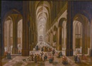 A cathedral interior with figures by Peeter Neeffs the Elder