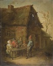 A village inn with peasants seated at a table by David Teniers the Elder
