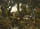 In the forest of Fontainebleau by Charles Jacques