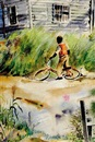 Rural scene-young boy with bike by Virginia Fouche Bolton