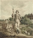 A farm labourer with his pitchfork standing by a wheelbarrow by William Grattan