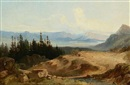 A landscape with a lake by Alois Bubák