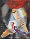Woman in red hat with parrot by Gyozo Viktor Rafael