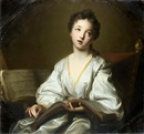 Portrait of a young lady, in a white silk dress by Jean-Baptiste Santerre