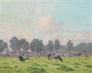 Cows in spring meadow with distant village by Gerard (Ger) Jacobs