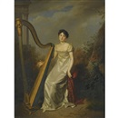 Portrait of a lady, wearing a white dress and seated beside a harp, a landscape beyond (marquise de Chamillard?) by Firmin Massot