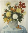 An autumn bouquet with chrysanthemums by Dirk Smorenberg