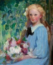 Girl with flowers by Pauline Palmer