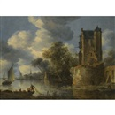 River landscape with a bastion by Adriaen van der Cabel