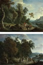A wooded river landscape with a hunting party on a track (+ A wooded river landscape with travellers on a track; pair) by Mathys Schoevaerdts