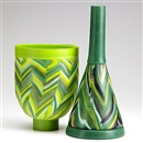 Vessel MMP 3 dark green (+ Vessel MMP 46 lime green; 2 pieces) by Klaus Moje