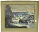 A rocky coastal Oregon seascape with crashing waves by Franz X. Zallinger