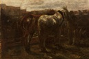 A white and brown work horse by George Hendrik Breitner