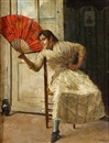 A girl in a doorway holding a fan by A. Corrado