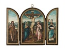 Christus am Kreuz (Reisealtar) (triptych) by  Anonymous-Dutch
