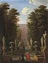 A view of the Villa d'Este and gardens, Tivoli, with elegant figures by Johann Wilhelm Baur