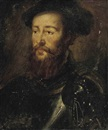 Portrait of a bearded man in a breast-plate, with a feathered cap by  Corneille de Lyon
