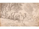 Travelers crossing a stream, cattle on the far shore by John White Abbott