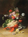 Still life of flowers, asparagus, lobster and a lemon by David Emile Joseph de Noter