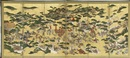 Folding screen depicting a battle scene by  Anonymous-Japanese