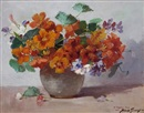 A vase of nasturtiums by Abbott Fuller Graves