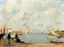 French harbor scene by Paul Emile Lecomte