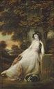 Portrait of Miss S.D. Chambers in a white dress, seated with a dog, in a river landscape by John Russell