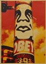 Obey pole wood by Shepard Fairey