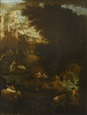 A pastoral landscape with shepherds and a cowherd beside a waterfall... (+ A pastoral landscape with a shepherdess resting with her livestock...; pair) by Pieter Mulier the Elder