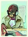Ape with discman by Ricky Swallow