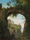Italians under an aqueduct in a high-lying town at a lake by Carl Frederik Peder Aagaard