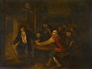 Peasants drinking in a tavern interior by Egbert van Heemskerck the Younger