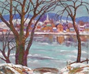 Lambertville across the Delaware, winter by Fern Isabel Coppedge