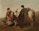 A mother with her children, dog and pony by the shore by Edward Robert Smythe