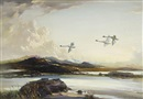 Swans in flight by Vernon Ward
