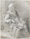 A seated old lady holding a knife by Cornelis Visscher