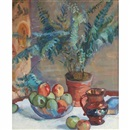 Still life with potted fern, apples and jug by Lucien Abrams