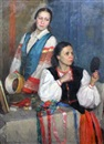 Portrait of two folk dancers by Nikolai Pavlovich Kalmykov