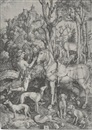 Saint Eustace (+ Virgin and Child with monkey, circa 1498, smllr; 2 works) by Albrecht Dürer