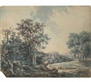 A mountainous river landscape (+ A ruined castle in a wooded landscape; pair) by George Barret