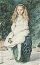 Portrait of Nina Lehmann, aged nine, later lady Campbell, full length in white dress by Sir John Everett Millais