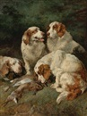 Clumber Spaniels with the day's bag by John Emms