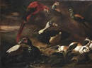 A landscape with a scarlet macaw, two ducks, a hedgehog, three guinea pigs, a crab and other birds near a stream by Jaques van de Kerckhove