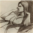 Seated woman with necklace by Richard Diebenkorn