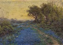 Blue Bonnets and Cactus by Julian Onderdonk