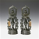 UNKNOWN<br>PAIR OF STUPA WITH SITTING BUDDHA