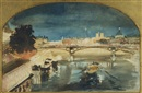 Paris, Seine Illuminated by Albert Edelfelt